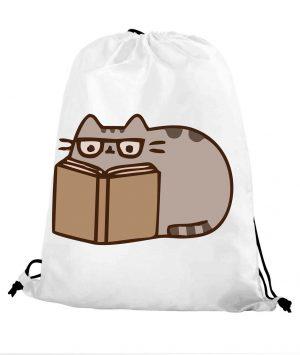 Worek szkolny kot puszin czyta