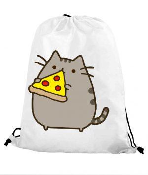 Worek szkolny kot puszin z pizzą